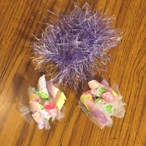 Ribbon hair clips with fuzzy purple hair tie